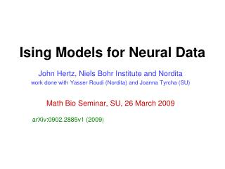 Ising Models for Neural Data