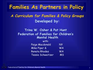 Families As Partners in Policy