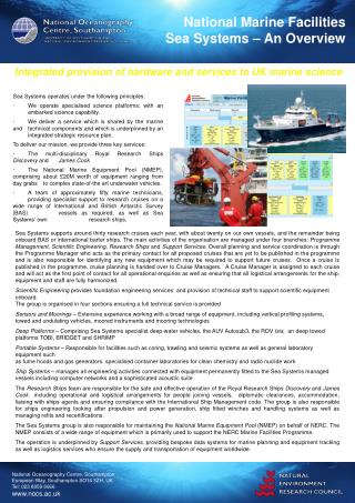 National Marine Facilities Sea Systems – An Overview