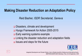 Making Disaster Reduction an Adaptation Policy