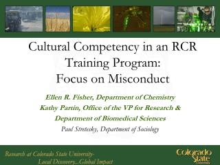 Cultural Competency in an RCR Training Program: