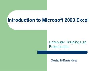 Introduction to Microsoft 2003 Excel