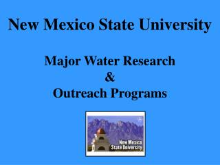 Major Water Research & Outreach Programs
