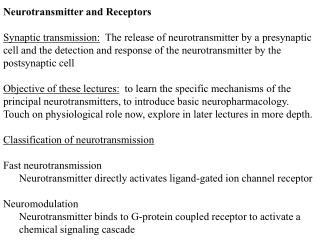 Neurotransmitter and Receptors