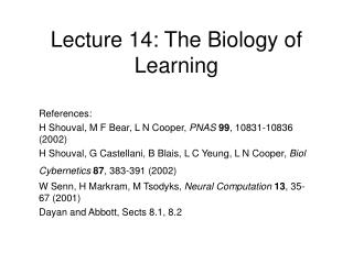 Lecture 14: The Biology of Learning