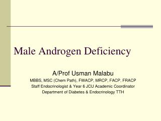 Male Androgen Deficiency