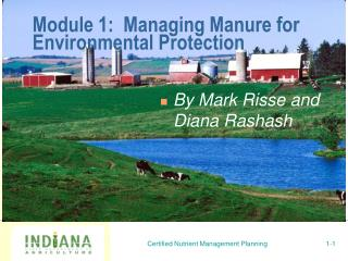 Module 1: Managing Manure for Environmental Protection