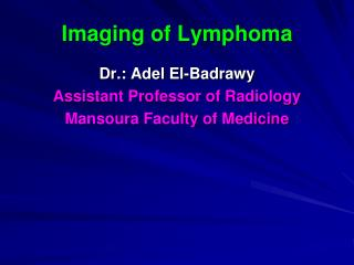 Imaging of Lymphoma