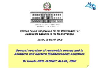 General overview of renewable energy and in Southern and Eastern Mediterranean countries