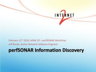 perfSONAR  Information Discovery