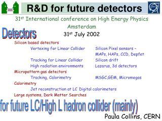 R&D for future detectors