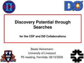 Discovery Potential through Searches for the CDF and DØ Collaborations