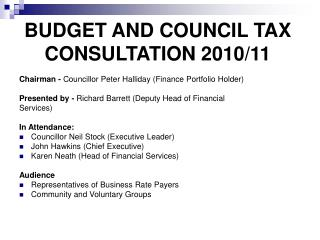 BUDGET AND COUNCIL TAX CONSULTATION 2010/11