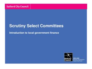 Scrutiny Select Committees Introduction to local government finance