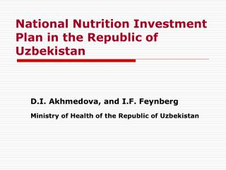 National Nutrition Investment Plan in the Republic of Uzbekistan