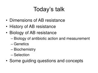Today's talk