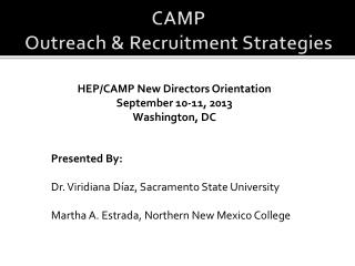 CAMP Outreach & Recruitment Strategies