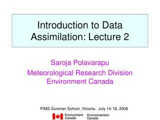 Introduction to Data Assimilation: Lecture 2