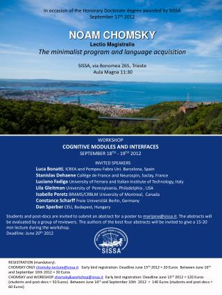 WORKSHOP cognitive modules and interfaces September 18 th  - 19 th  2012 						Invited Speakers