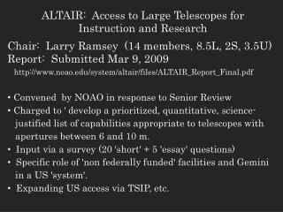 ALTAIR:  Access to Large Telescopes for Instruction and Research