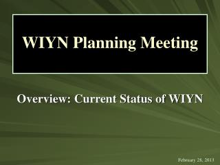 Overview: Current Status of WIYN