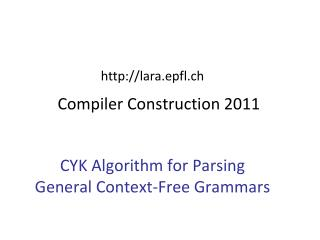 Compiler Construction 2011