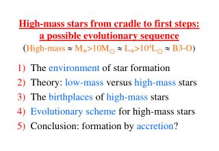 The environment of star formation Theory:  low-mass  versus  high-mass  stars