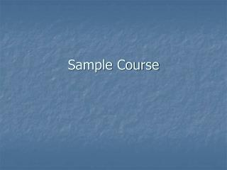Sample Course