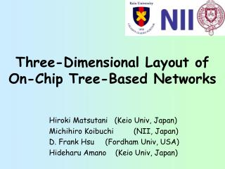 Three-Dimensional Layout of On-Chip Tree-Based Networks
