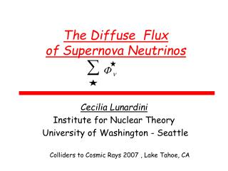 The Diffuse  Flux  of Supernova Neutrinos