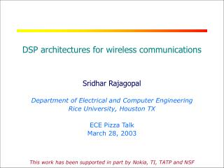 DSP architectures for wireless communications