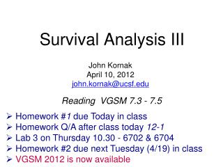 Survival Analysis III