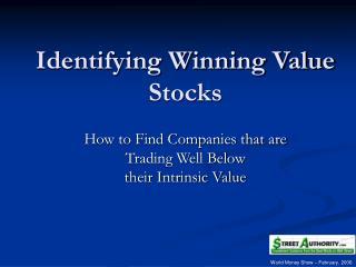 Identifying Winning Value Stocks