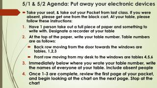 5/1 & 5/2 Agenda: Put away your electronic devices