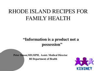 RHODE ISLAND RECIPES FOR FAMILY HEALTH