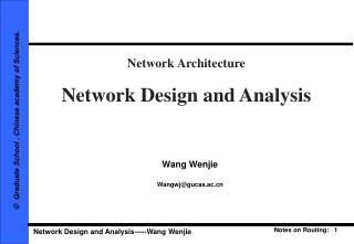 Network Architecture Network Design and Analysis