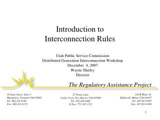 Introduction to  Interconnection Rules
