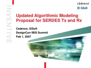 Updated Algorithmic Modeling  Proposal for SERDES Tx and Rx