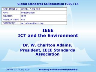 IEEE ICT and the Environment