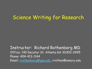 Science Writing for Research