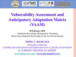 Vulnerability Assessment and Anticipatory Adaptation Matrix (VAAM) 28 February 2011