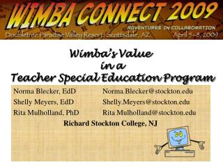 Wimba's  Value  in a  Teacher Special Education Program