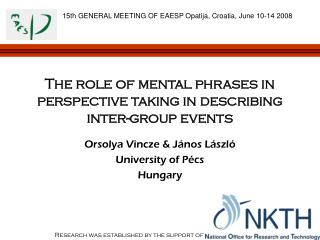 The role of mental phrases in perspective taking in describing inter-group events