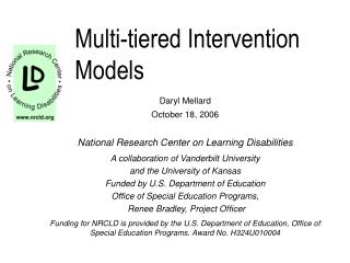 Multi-tiered Intervention Models