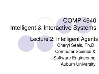 COMP 4640 Intelligent & Interactive Systems