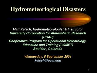Hydrometeorlogical Disasters