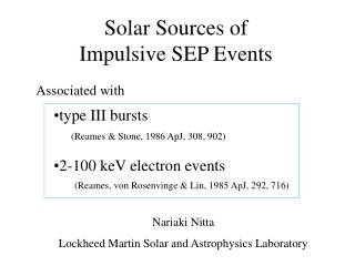 Solar Sources of  Impulsive SEP Events