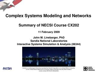Complex Systems Modeling and Networks