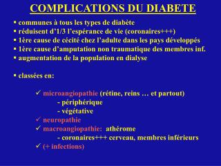 COMPLICATIONS DU DIABETE