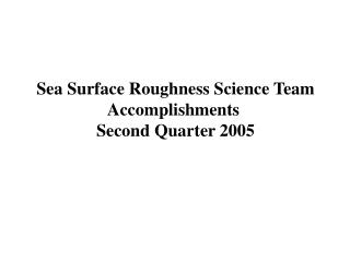 Sea Surface Roughness Science Team Accomplishments  Second Quarter 2005